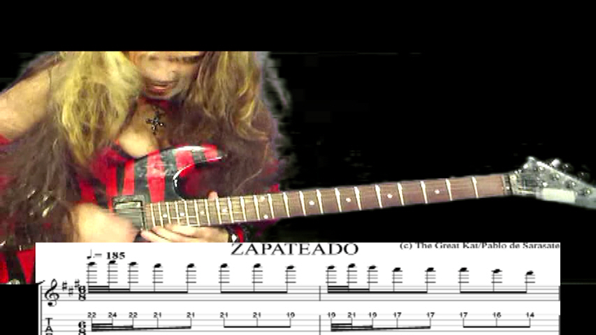 "THE GREAT KAT GUITAR SHREDDING/TABLATURE/MUSIC NOTATION PHOTOS from SARASATE'S ""ZAPATEADO"""