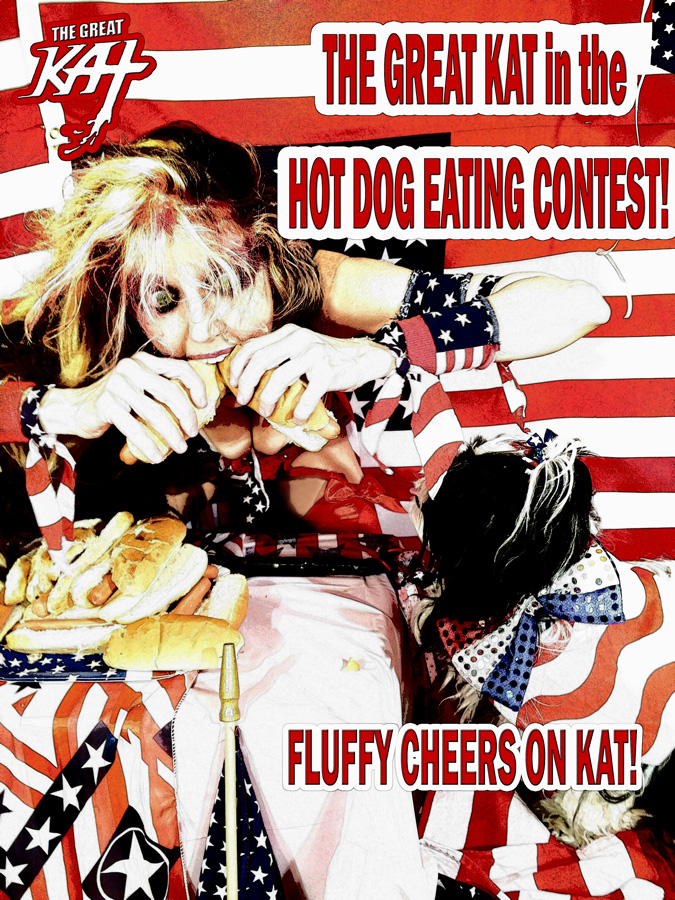 THE GREAT KAT in the HOT DOG EATING CONTEST! FLUFFY CHEERS ON KAT! CARTOON!