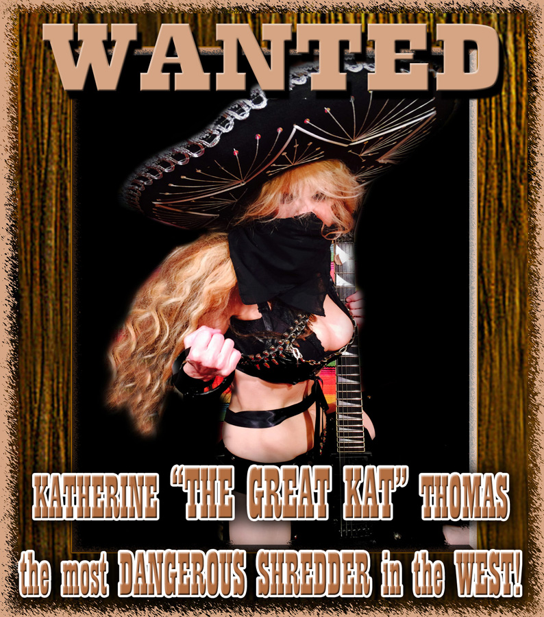 """WANTED: KATHERINE """"THE GREAT KAT"""" THOMAS, the most DANGEROUS SHREDDER in the WEST!"""