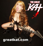 "MINIMALIA FEATURES THE GREAT KAT IN ""THE 50 FASTEST GUITARISTS""! ""THE 50 FASTEST IN THE WORLD. You want fast guitar? Guitar World has opened a vote and elected the 50 fastest in the world. #5. The Great Kat."""