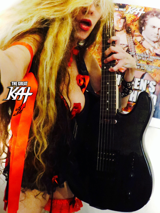 HIGH PRIESTESS OF GUITAR SHRED GREAT KAT & BEETHOVEN SHREDDING SELFIE in NYC!