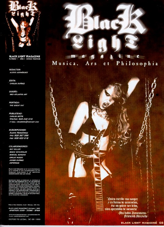 """The Great Kat Poster in """"BLACKLIGHT"""" Magazine"""