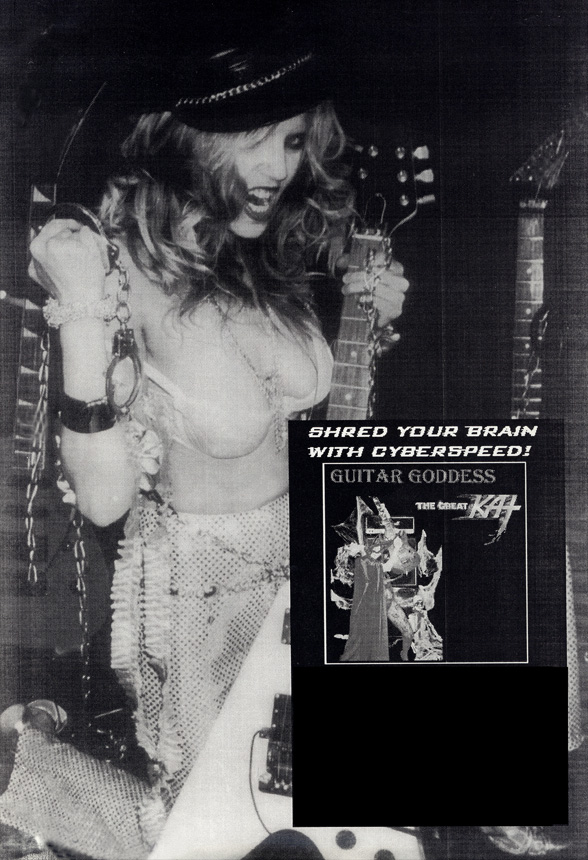 THE GREAT KAT GUITAR GODDESS POSTER IN EDGE OF TIME MAGAZINE!