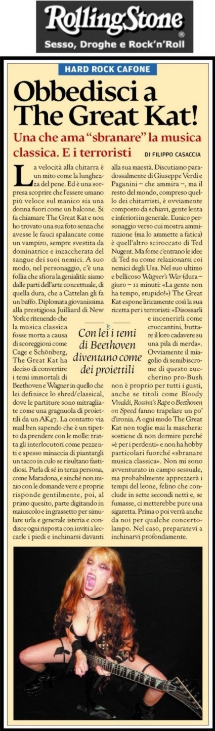 """The Great Kat in """"ROLLING STONE"""" Magazine (Italy)"""