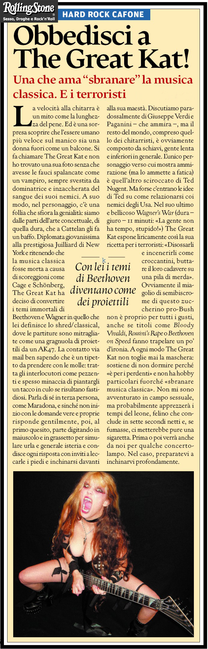 ROLLING STONE MAGAZINE (ITALY) INTERVIEW with THE GREAT KAT!