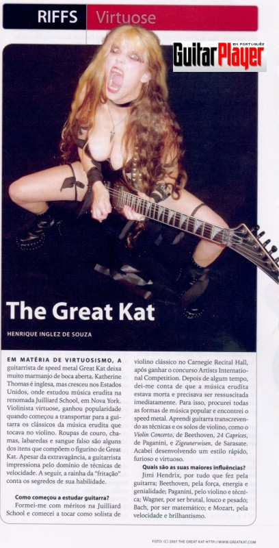 The Great Kat in GUITAR PLAYER MAGAZINE BRAZIL!