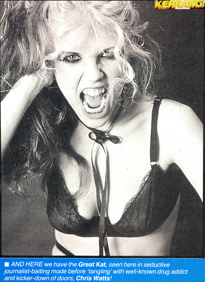 The Great Kat Poster in Kerrang Magazine