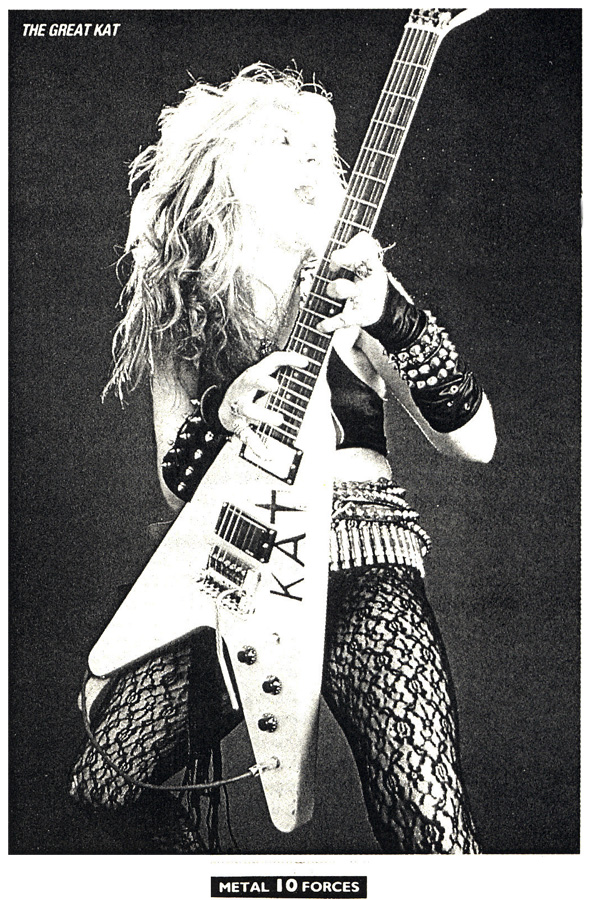 THE GREAT KAT GUITAR GODDESS POSTER IN METAL FORCES MAGAZINE!!