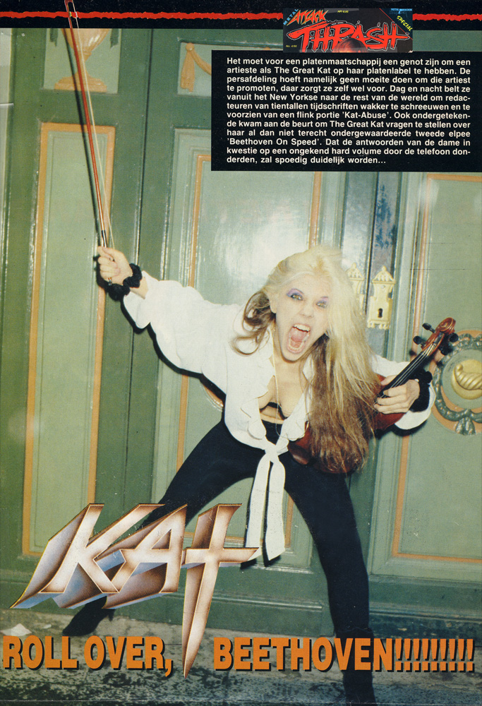 """METAL HAMMER'S METAL ATTACK MAGAZINE'S INTERVIEW WITH THE GREAT KAT! """"ROLL OVER, BEETHOVEN!!!!!!!!!""""THE GREAT KAT SHREDS VIOLIN AT BEETHOVEN-HAUS in BONN, GERMANY!"""