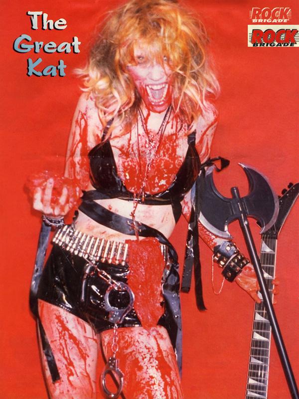 THE GREAT KAT BLOODY GUITAR GODDESS POSTER in ROCK BRIGADE MAGAZINE!