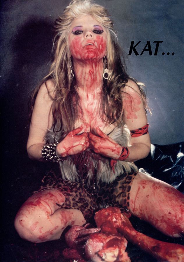 "The Great Kat MAGAZINE BLOOD POSTER from ""WORSHIP ME OR DIE"" ERA!!"