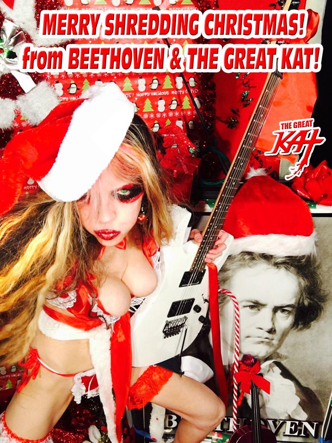 "MERRY SHREDDING CHRISTMAS! from BEETHOVEN & THE GREAT KAT! ! rom ""SANTA BEETHOVEN"" HOLIDAY KAT PHOTOS!"