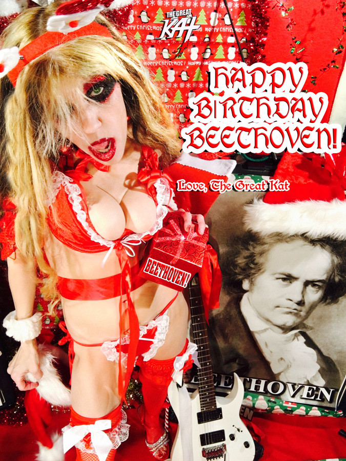 "HAPPY BIRTHDAY BEETHOVEN! Love, The Great Kat! from ""SANTA BEETHOVEN"" HOLIDAY KAT PHOTOS!"