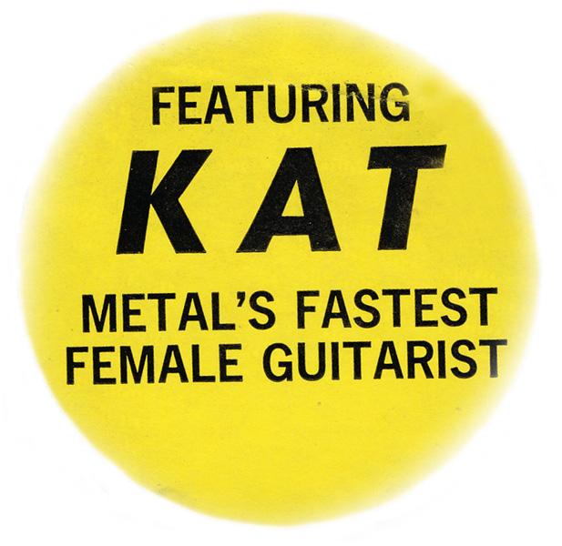 "ORIGINAL""KAT METAL'S FASTEST FEMALE GUITARIST"" STICKER from ""SATAN SAYS"""