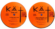 """Recorded at the famous AMIGO STUDIOS in North Hollywood, CA and Mastered at MASTERDISK in New York City, The Great Kat's HEAVY and BRUTAL """"SATAN SAYS"""" 3 Song EP Vinyl Record features the songs """"Satan Says"""", """"Metal Massacre"""" and """"We Will Arise"""" and was UNLEASHED to an UNSUSPECTING WORLD on NOV 25, 1986 on the record label Death Records, Inc. – changing the face of METAL FOREVER!"""