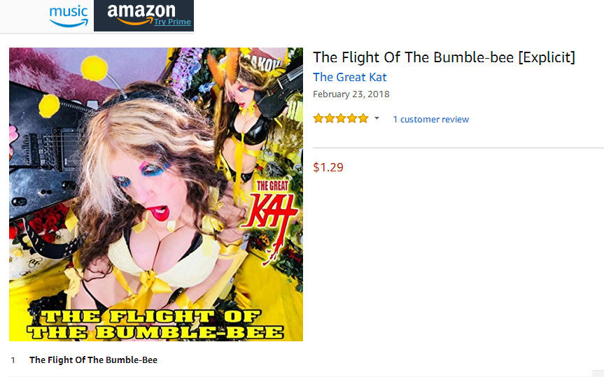 """""""THE FLIGHT OF THE BUMBLE-BEE"""" - THE GREAT KAT'S INSANELY FAST SIGNATURE SONG - SINGLE AVAILABLE on AMAZON, iTUNES & MORE:"""