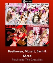 "�BEETHOVEN, MOZART, BACH & SHRED"" by The Great Kat! Playlist on Spotify!"