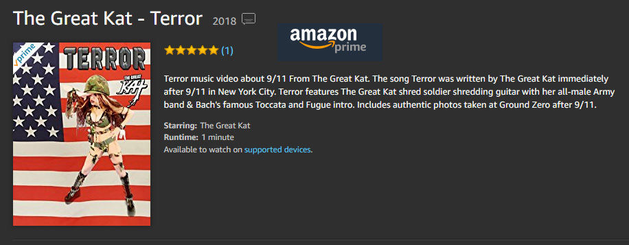 """TERROR"" MUSIC VIDEO ABOUT 9/11 FROM THE GREAT KAT! FEATURES AUTHENTIC PHOTOS taken at GROUND ZERO AFTER 9/11 - NOW on AMAZON!!"