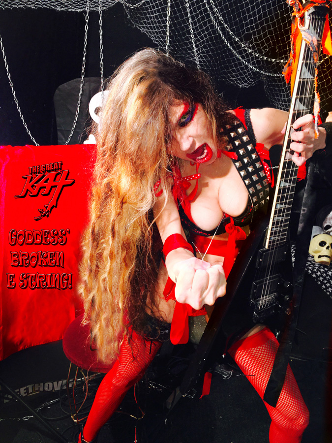 "GODDESS' BROKEN E STRING! SNEAK PEEK from THE GREAT KAT'S BAZZINI'S ""THE ROUND OF THE GOBLINS"" MUSIC VIDEO!"