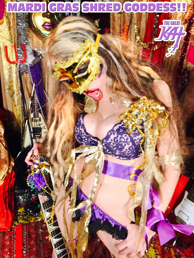 """MARDI GRAS SHRED GODDESS! from BAZZINI'S """"THE ROUND OF THE GOBLINS"""" NEW GREAT KAT MUSIC VIDEO!"""