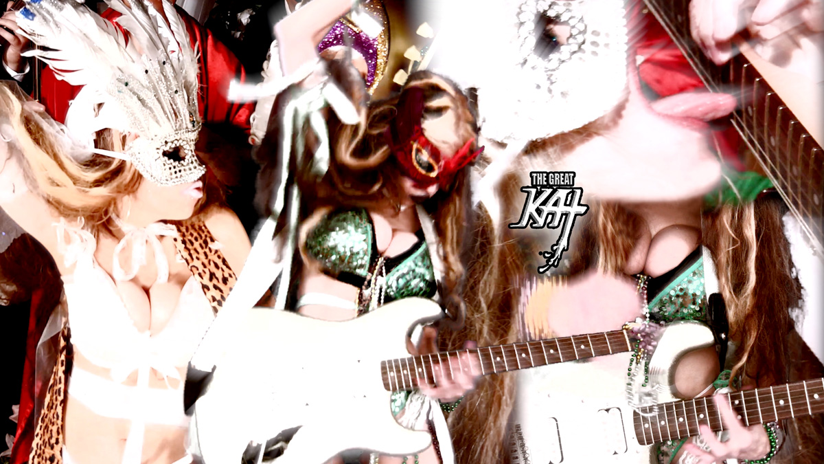 "MASKED GODDESS SHREDS at CARNIVAL! From THE GREAT KAT'S BAZZINI'S ""THE ROUND OF THE GOBLINS"" MUSIC VIDEO!!!"