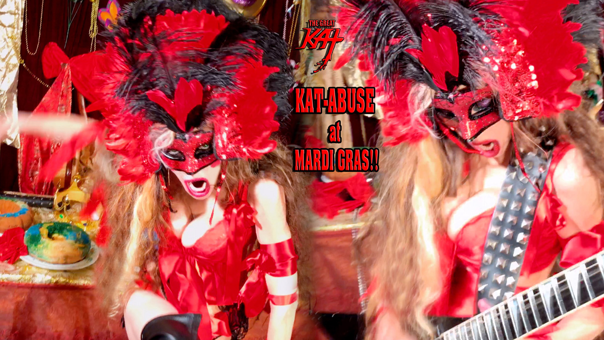 """KAT-ABUSE at MARDI GRAS!! From THE GREAT KAT'S BAZZINI'S """"THE ROUND OF THE GOBLINS"""" MUSIC VIDEO!!!"""