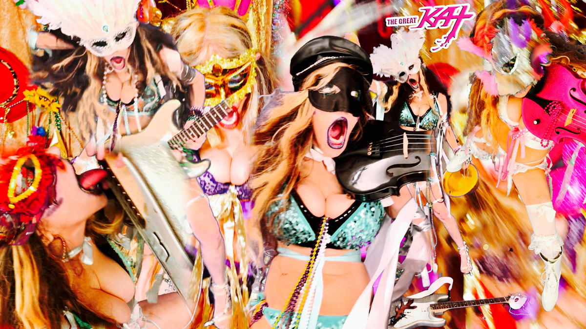 """MARDI GRAS MADNESS! From THE GREAT KAT'S BAZZINI'S """"THE ROUND OF THE GOBLINS"""" MUSIC VIDEO!!!"""