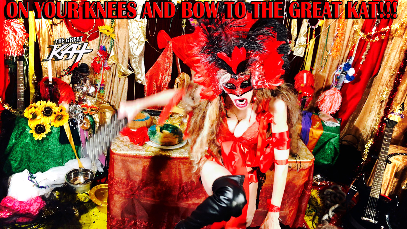 """ON YOUR KNEES AND BOW TO THE GREAT KAT!! from BAZZINI'S """"THE ROUND OF THE GOBLINS"""" NEW GREAT KAT MUSIC VIDEO!"""