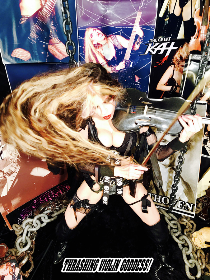 THRASHING VIOLIN GODDESS!! NEW GREAT KAT DVD PHOTO!