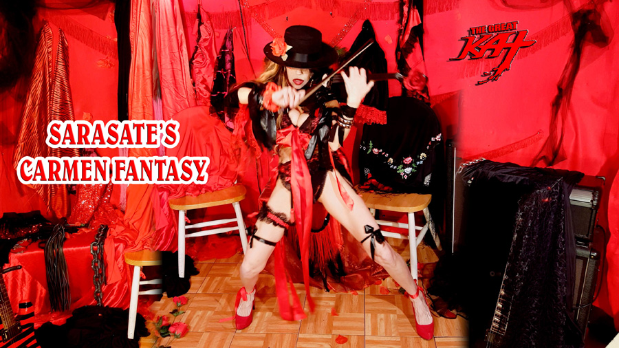 "iTUNES VIDEOS & APPLE MUSIC PREMIERE THE GREAT KAT'S NEW SARASATE'S ""CARMEN FANTASY"" MUSIC VIDEO! WATCH at https://itunes.apple.com/us/music-video/sarasates-carmen-fantasy/id1278367150  Ole! Sarasate's Carmen Fantasy stars Shred Senorita The Great Kat's stunning Guitar & Violin virtuosity, along with Carmen & Don Jose dancing an Argentine Tango. Matadors, bullfighters, masked gimps and the world's fastest guitar/violin shredder, The Great Kat make the ultimate over-the-top, insane Hard Rock/Classical music video! Watch now: https://itunes.apple.com/us/music-video/sarasates-carmen-fantasy/id1278367150"
