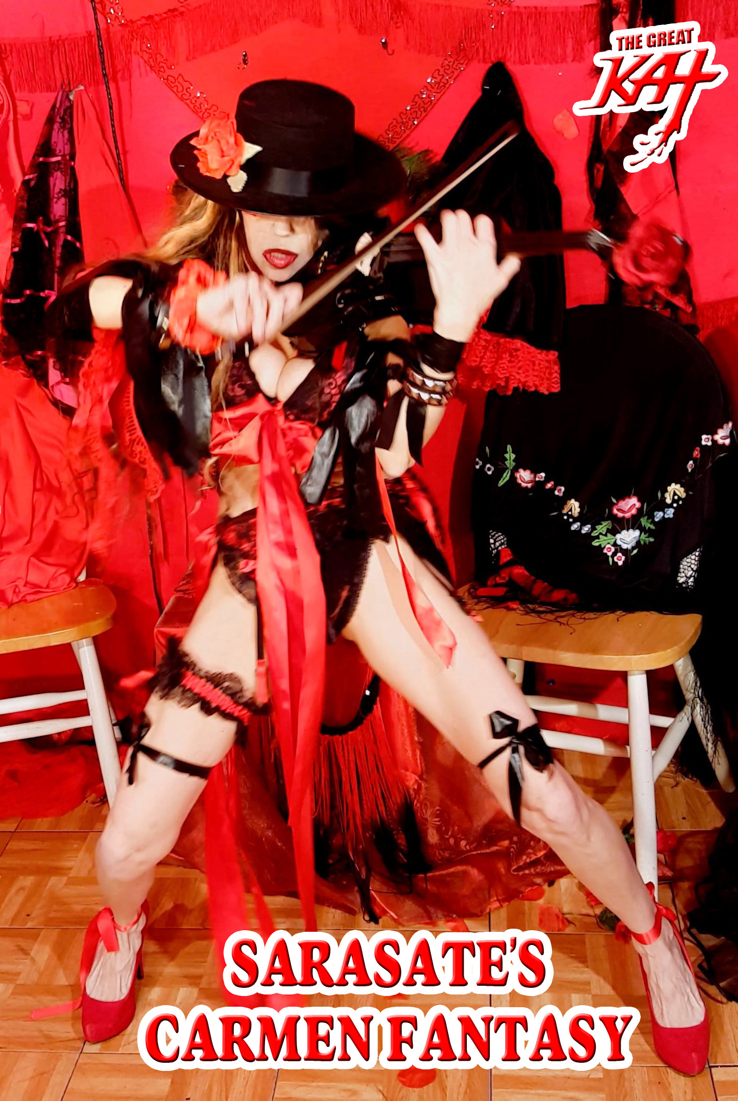 """iTUNES VIDEOS & APPLE MUSIC PREMIERE THE GREAT KAT'S NEW SARASATE'S """"CARMEN FANTASY"""" MUSIC VIDEO! WATCH at https://itunes.apple.com/us/music-video/sarasates-carmen-fantasy/id1278367150  Ole! Sarasate's Carmen Fantasy stars Shred Senorita The Great Kat's stunning Guitar & Violin virtuosity, along with Carmen & Don Jose dancing an Argentine Tango. Matadors, bullfighters, masked gimps and the world's fastest guitar/violin shredder, The Great Kat make the ultimate over-the-top, insane Hard Rock/Classical music video! Watch now: https://itunes.apple.com/us/music-video/sarasates-carmen-fantasy/id1278367150"""