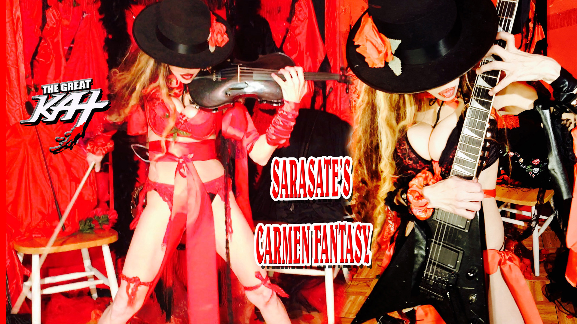 "OLE! ""CARMEN FANTASY"" starring THE GREAT KAT SHREDDING SENORITA, ARGENTINE TANGO & BULLFIGHTERS! Now PREMIERING on AMAZON! WATCH at https://www.amazon.com/dp/B079VV4NMC Starting with Carmen's famous Habanera song of seduction, The Great Kat gives Carmen the shred treatment with Carmen & Don Jose dancing an Argentine Tango. Matadors and bullfighters fight charging bulls, while the world's fastest guitar/violin shredder, The Great Kat shreds at lightning speeds."