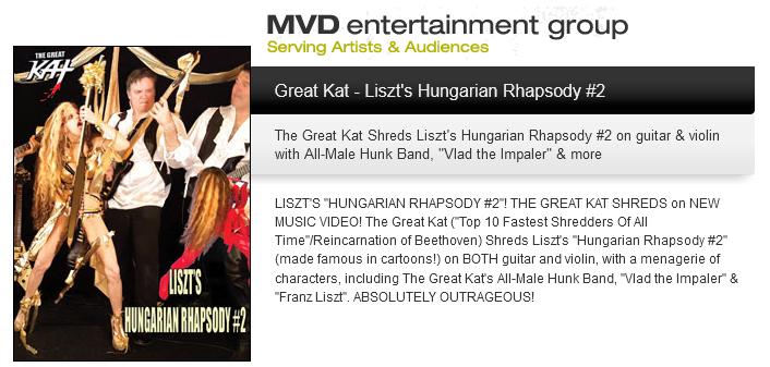 "MVD ENTERTAINMENT GROUP PRESENTS: The Great Kat's LISZT'S ""HUNGARIAN RHAPSODY #2"""