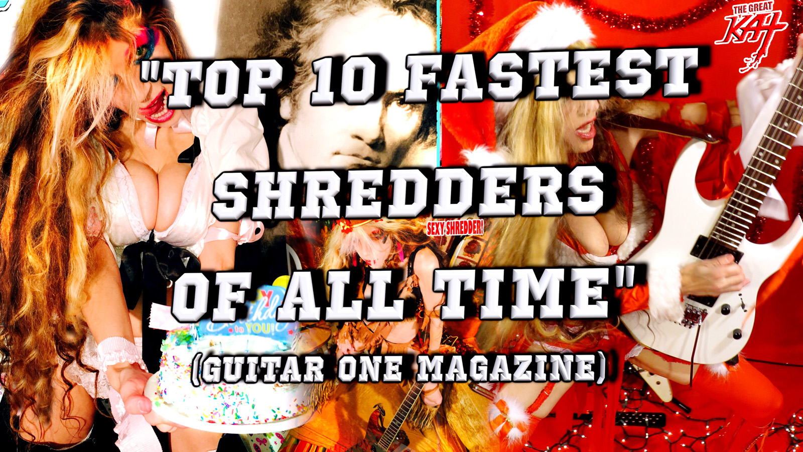 """THE GREAT KAT'S """"TOP 20 HOT SHRED HOLIDAYS!""""  """"TOP 10 FASTEST SHREDDERS OF ALL TIME"""" (Guitar One Magazine)! From The Great Kat's NEW DVD!!!!"""