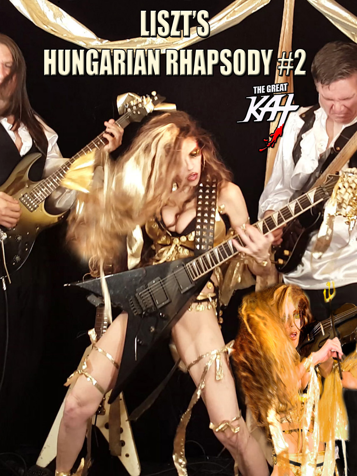 """Female Classical/Metal shredder & Juilliard grad, The Great Kat (top 10 fastest shredders of all time) shreds both guitar and violin and leads her all-male stud band on Liszt's """"Hungarian Rhapsody #2"""". Vlad the Impaler, a.k.a. Dracula - the evil 15th century Prince, joins The Great Kat in torturing her willing victims & Franz Liszt accompanies Kat on piano. Insane & outrageous."""
