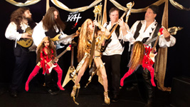 """HOT SHRED LICKS! KAT SHREDS with ALL-MALE HUNK BAND! From The Great Kat's LISZT'S """"HUNGARIAN RHAPSODY #2"""" MUSIC VIDEO!"""