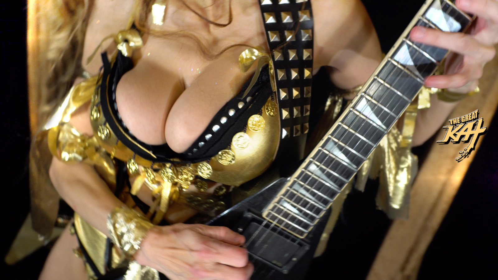 "GOLDEN GUITAR GODDESS SHREDS LISZT! From The Great Kat's LISZT'S ""HUNGARIAN RHAPSODY #2"" MUSIC VIDEO!"
