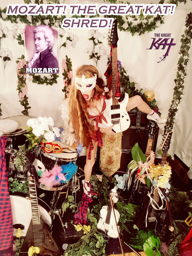 """NEW! MOZART'S """"THE MARRIAGE OF FIGARO OVERTURE"""" SHREDDED by THE GREAT KAT on GUITAR & VIOLIN – Song & Music Video Coming Soon!"""