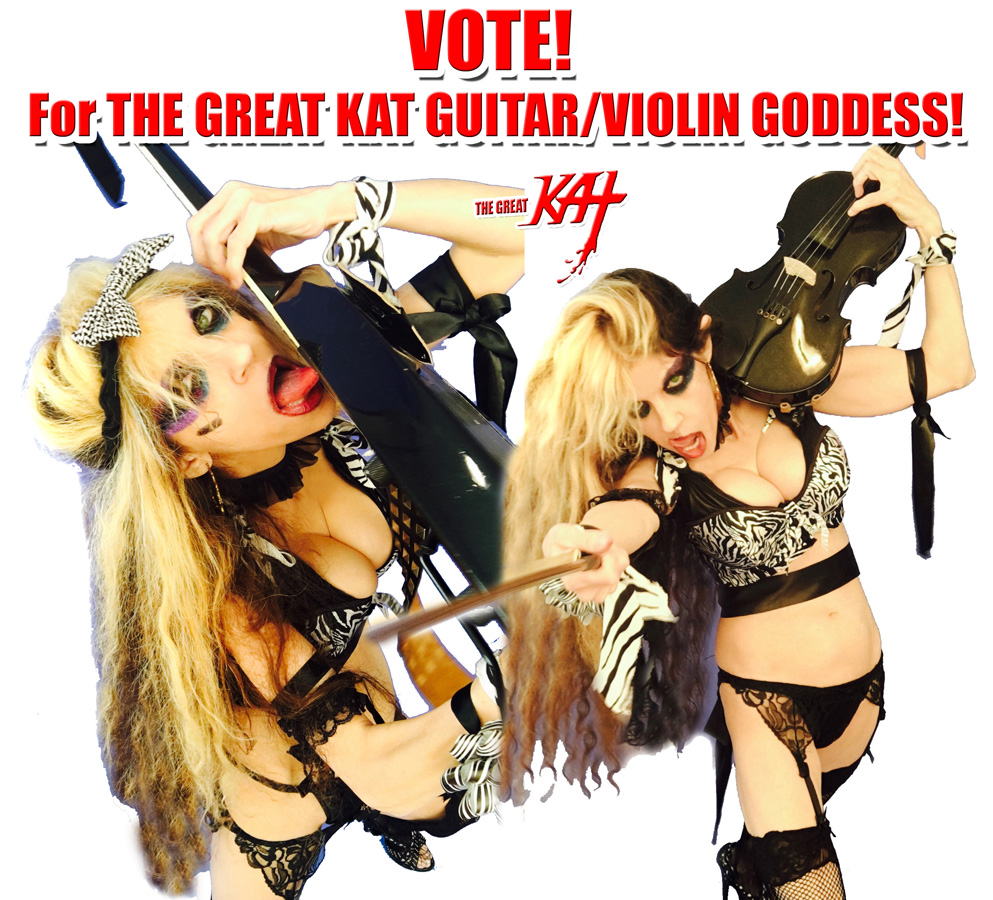 """VOTE! For THE GREAT KAT GUITAR/VIOLIN GODDESS! at """"ROUND OF THE GOBLINS""""! SNEAK PEAK FROM NEW DVD!"""