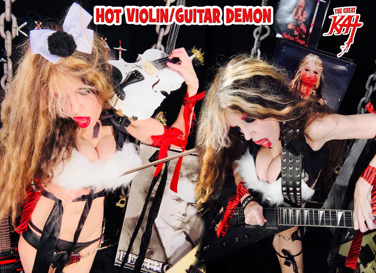 HOT VIOLIN/GUITAR DEMON! NEW GREAT KAT CD PHOTO!
