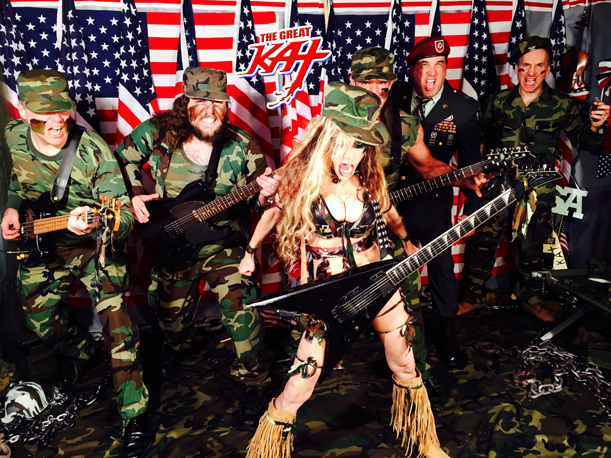 """Just Finished (9-5-16) filming Great Kat's NEW """"TERROR"""" Music Video with ALL-MALE HUNK ARMY BAND! VICIOUS! INSANE! HOT!!"""