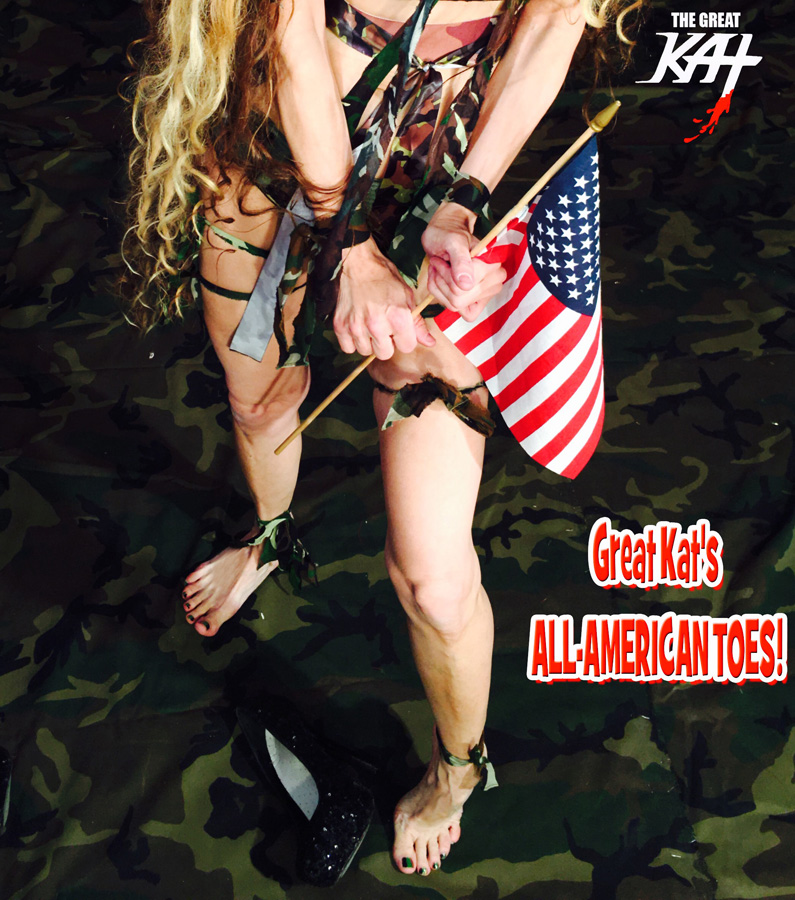 """Great Kat's ALL-AMERICAN TOES! From The Great Kat's """"TERROR"""" MUSIC VIDEO!"""
