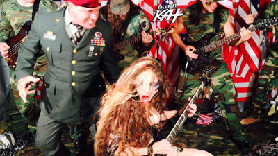 "The Great Kat's NEW ""TERROR"" Music Video! Sexy Soldier Kat Shreds with her ALL-MALE STUD ARMY!"