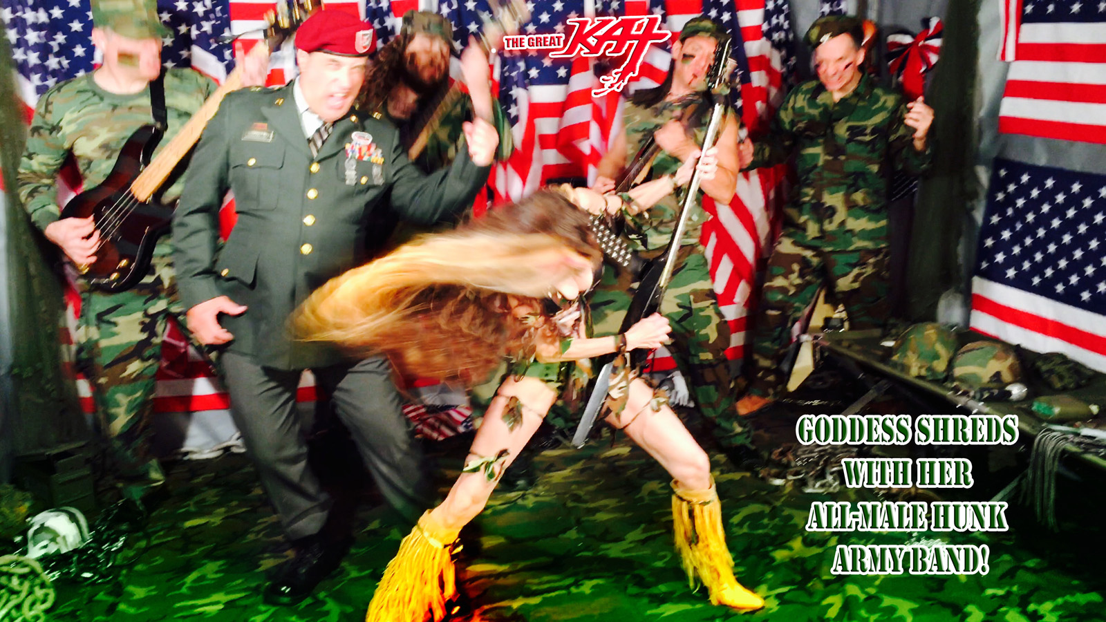"GODDESS SHREDS with her ALL-MALE HUNK ARMY BAND! From The Great Kat's ""TERROR"" MUSIC VIDEO!"