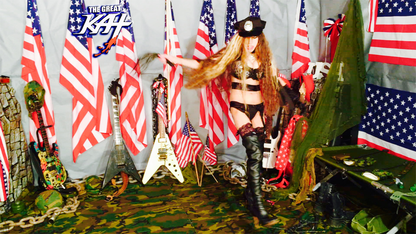 "CRACKING the WHIP on NEW ""TERROR"" MUSIC VIDEO from The Great Kat Guitar Dominatrix!!"