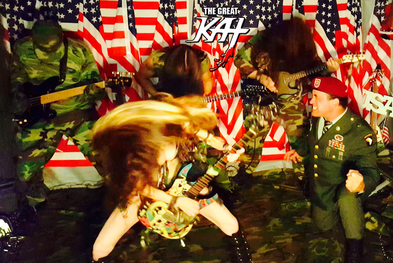 """SHRED WARRIOR THE GREAT KAT! NEW """"TERROR"""" Music Video with ALL-MALE HUNK ARMY BAND! VICIOUS! INSANE! HOT!!"""