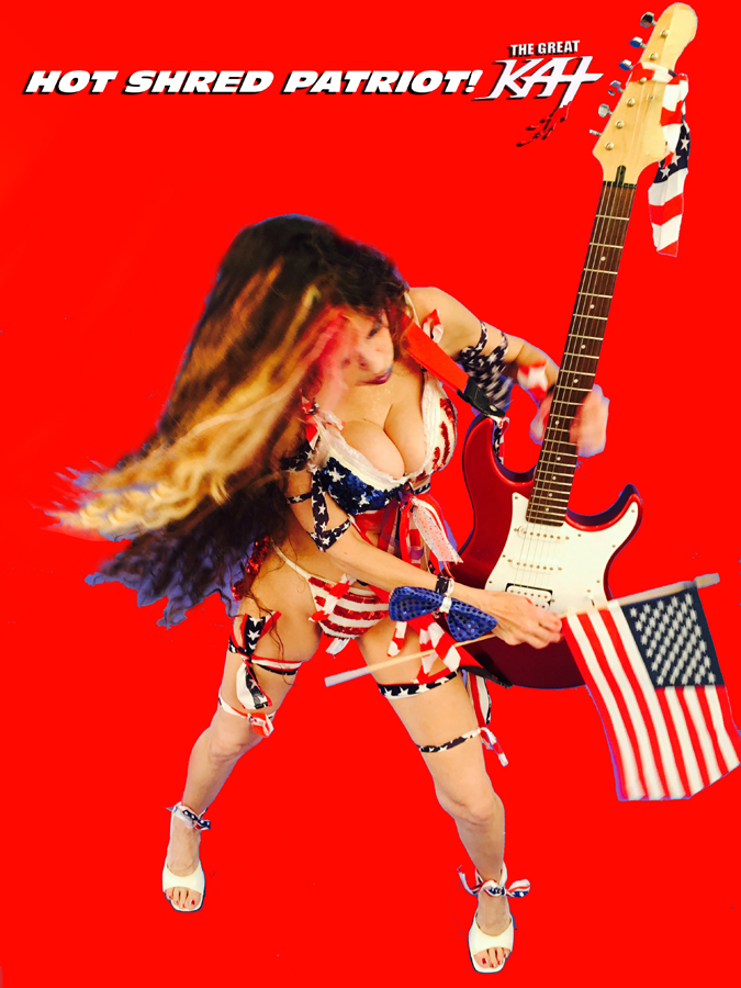 """HOT SHRED PATRIOT! From The Great Kat's """"TERROR"""" MUSIC VIDEO!"""