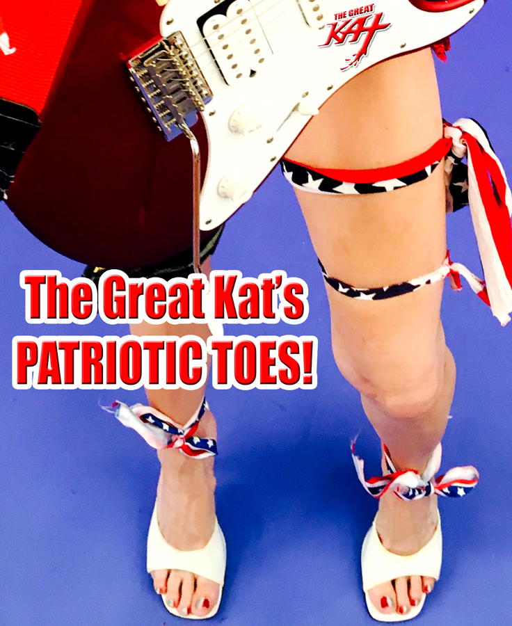 """THE GREAT KAT'S PATRIOTIC TOES! From The Great Kat's """"TERROR"""" MUSIC VIDEO!"""