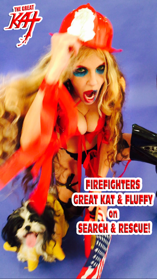 "FIREFIGHTERS GREAT KAT & FLUFFY on SEARCH & RESCUE! From The Great Kat's ""TERROR"" MUSIC VIDEO!!! From The Great Kat's ""TERROR"" MUSIC VIDEO!"