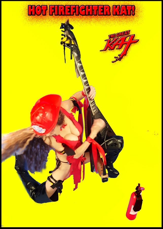 """HOT FIREFIGHTER KAT! From The Great Kat's """"TERROR"""" MUSIC VIDEO!"""